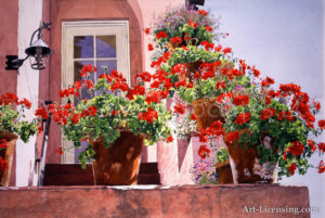 Geraniums at the Top of Stairs