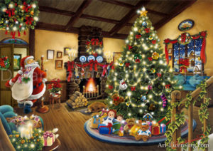 Gifts Under the Christmas Tree with Santa