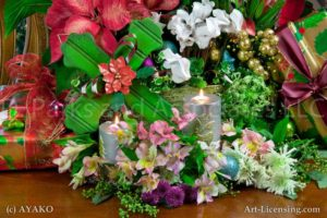 00023-Christmas Cross, Cyclamen, Daffodil, Poinsettia