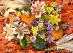 00909-Autumn flower setting-Pampkin Lily Corn