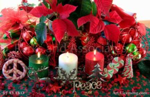 00923-Christmas Red Poinsetia and Candles, Peace