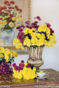 0406-Yellow and Red Mums Bouquets