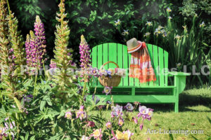 0842-Green Bench in Lupine Garden