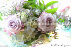 1168-Pink Roses and Blue Hydrangeas Bouquet