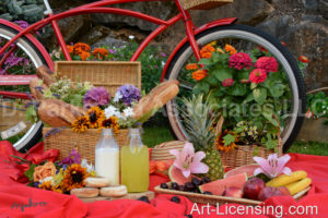 1662-Red Bicycle-Flower, Fruit and Bread Picnic in Summer