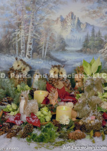 2460-Christmas Candles and Animals outdoor decoration