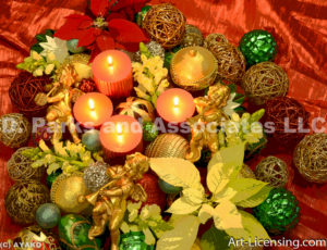 2504-Christmas Ornaments, Candles, Gold Angels, Poinsettia
