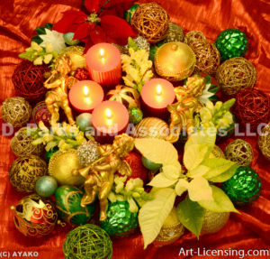 2506-Christmas Ornaments, Candles, Gold Angels, Poinsettia