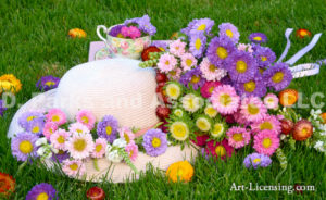 3409-Aster Flower-Straw Hat-Teacup