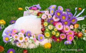 3409-Aster Flower-Straw Hat-Teacup