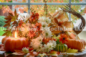 3721H-Fall Setting-Pumpkins-Mums-Mapleleaf-Candle