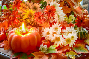 3726-Fall Flower Arrangemen-Mums-Pumpkin Candle-Maple Leaf