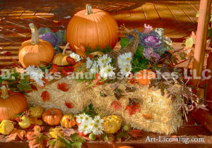 3798-Fall Setting-Pumpkins-Mums-Mapleleaf-Candle