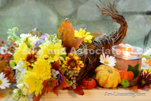 3908-Fall Flower Arrangemen-Mums-Pumpkins-Maple Leaf-Candle