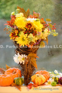 3927-Fall Flower Arrangemen-Mums-Pumpkins-Maple Leaf