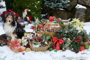 4364-Shelti Dog with Christmas presents, Wreath and Basket on Snow