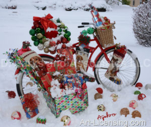 4804-Christmas Presents on Bicycle on Snow