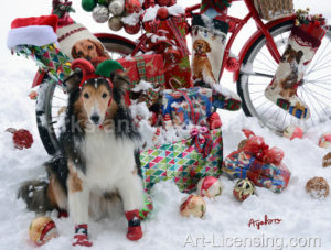 4920-Shelti Dog and Christmas Presents on Bicycle on Snow