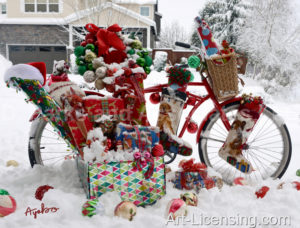 4999-Christmas Present on Bicycle on Snow
