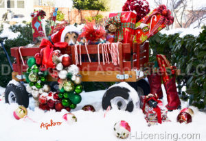 5812-Christmas Presents and Dog in Red Wagon on Snow
