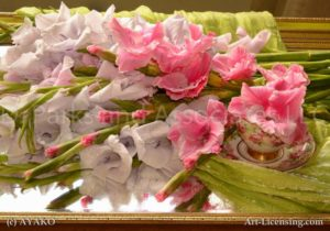 6462-Pink and Purple Gladiolus with Tea Cup