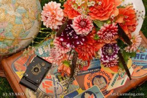 7345-Dahlias-Kodak Vest Pocket Camera-Stickerd Old Trunk-Globe