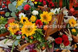 7724-Harvest Time Flowers on Wheelbarrow