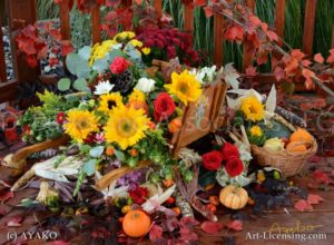 7727-Harvest Time Flowers on Wheelbarrow
