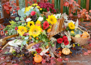 7727--Harvest Time Flowers on Wheelbarrow