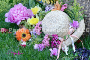 8379S-Flowers on Straw Hat