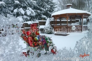 Gazebo and Christmas Presents on Snow