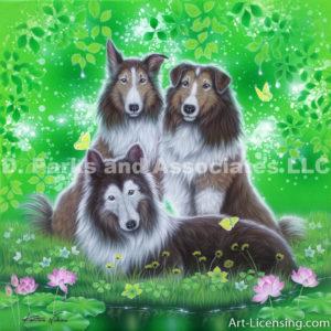 Sheltie Dogs-Peppy, Bill and Bebe