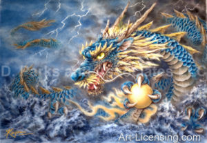 Blue Dragon-Blue Background