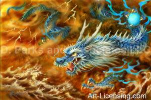 Blue Dragon-Brown Background