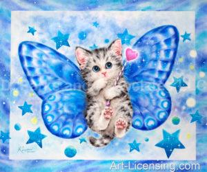 Blue Fairy Butterfly Kitten