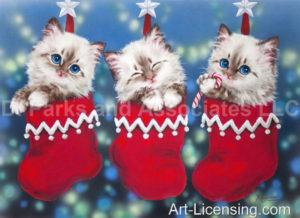 Christmas Socks Trio Kittens