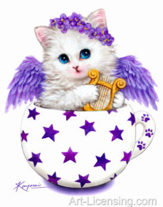 Cup Kitten Purple Angel