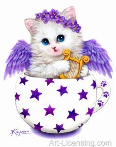 Cup Kitten Purple Angel