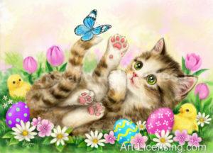 Easter Flowers Garden Kitten