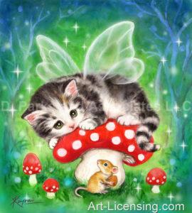 Fairy Kitten Red Mushroom