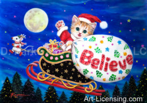 Kitten Santa Believe Sleigh