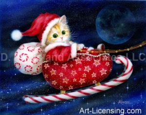 Kitten Santa on Candy Sleigh