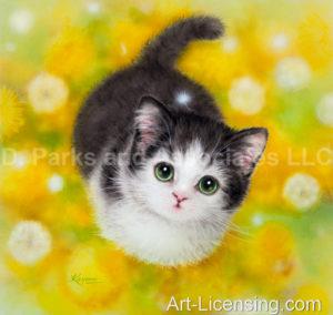 Kitten in Dandelion Field