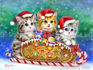 Kittens on the Gingerbread Sleigh