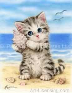 Listen Seashell Kitten on the Beach