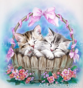 Peaceful Dream Kittens in the Basket