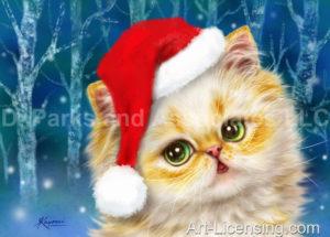 Santa Kitten in Forest
