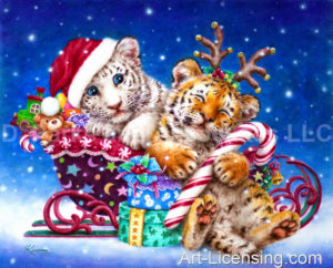 Santa White Tiger Cub with Sleepy Reindeer Tiger Cub