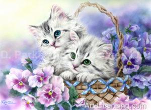 Spring Flower Basket Kittens