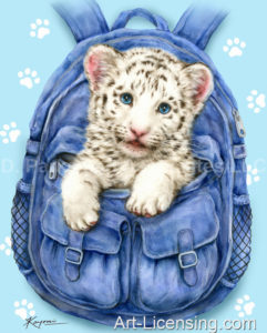 White Tiger Cub in a Backpack